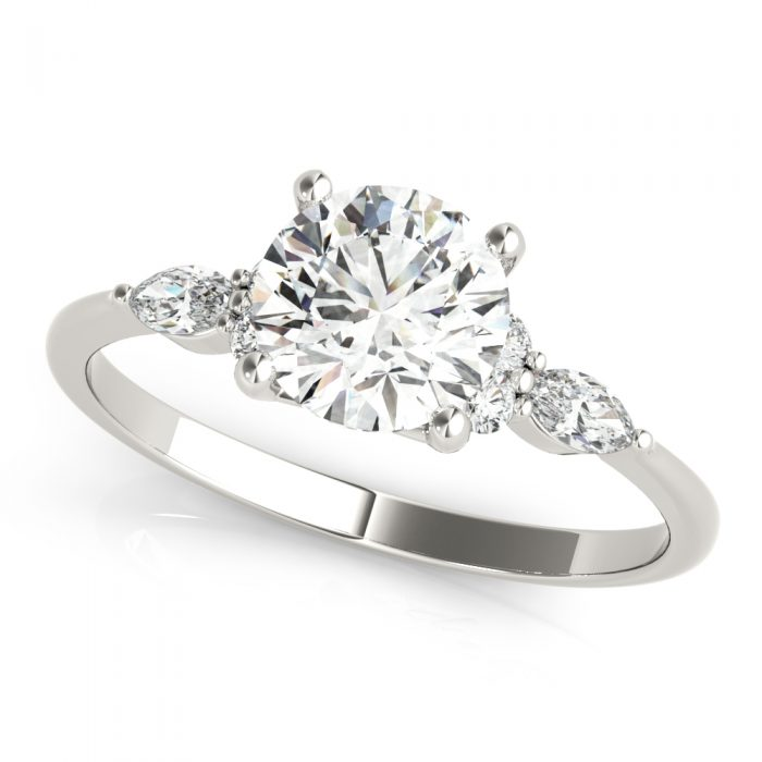 Round Diamond Marquise Accents Engagement