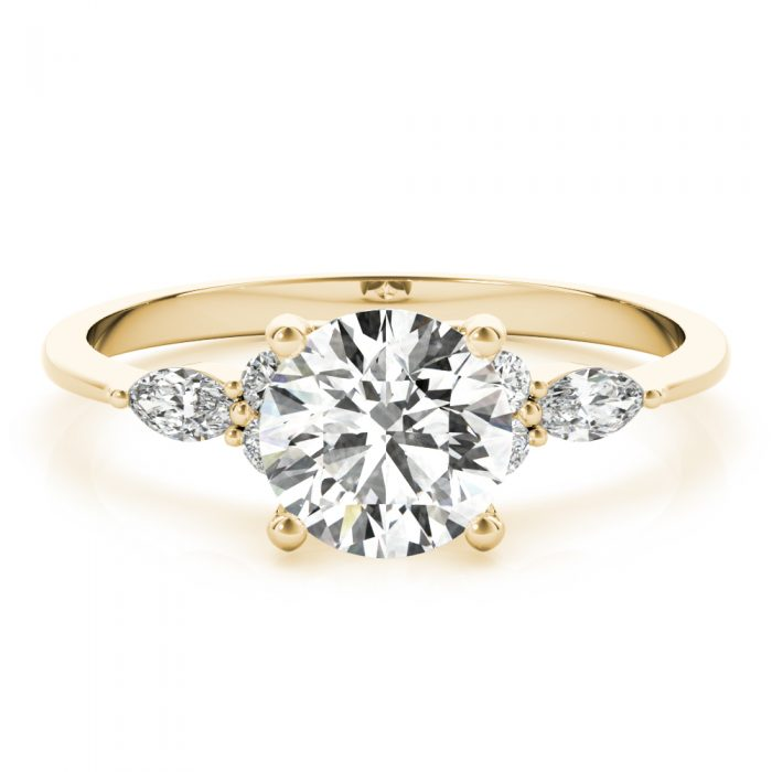 Round Diamond Marquise Accents Engagement Yellow gold