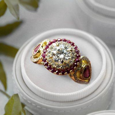Ruby Moissanite Engagement Ring