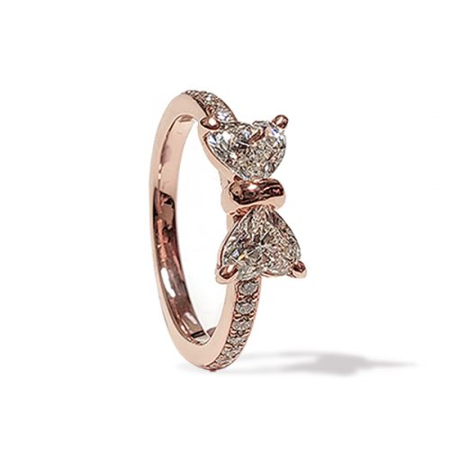 Double Heart Bow Engagement Ring