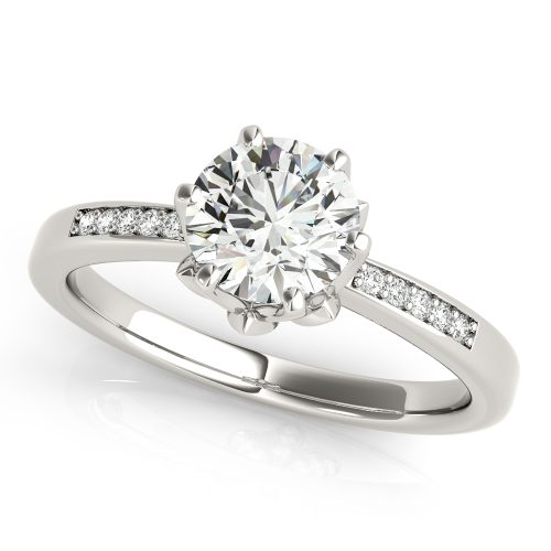 Er51142w Floral Six Prong Solitaire