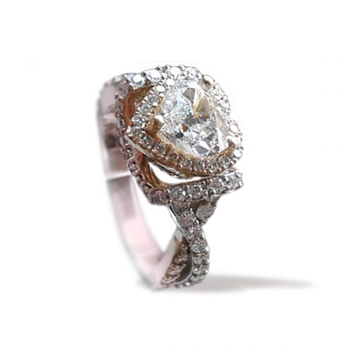 Heart Shaped Diamond Infinity Engagement Ring