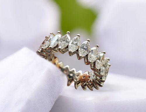 Marquise-cut Diamond Eternity Wedding Ring