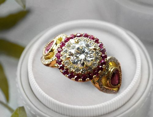 Vintage Style Diamond Halo Ruby Accents Engagement Ring