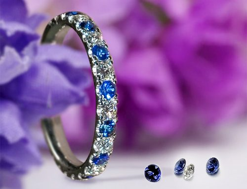 Platinum Diamond Blue Sapphire Wedding Ring