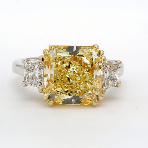 3 stone Engagement Ring Yellow diamond