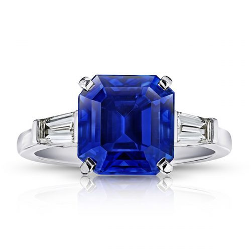 Square Blue Sapphire Tapered Baguette Diamonds