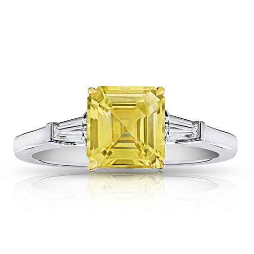Square Yellow Sapphire Tapered Diamonds