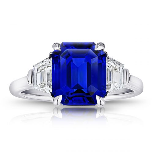 Blue Sapphire With Trapezoid Diamonds