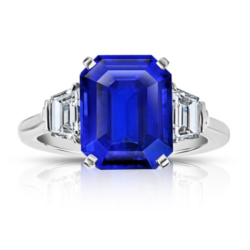 Emerald Cut Blue Sapphire With Trapezoid Diamonds