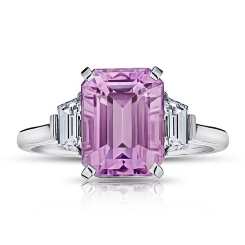 Emerald Cut Pink Sapphire With Trapezoid Step Cut Diamonds