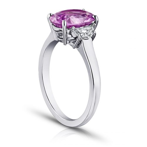 Oval Pink Sapphire With Half Moon Diamonds2