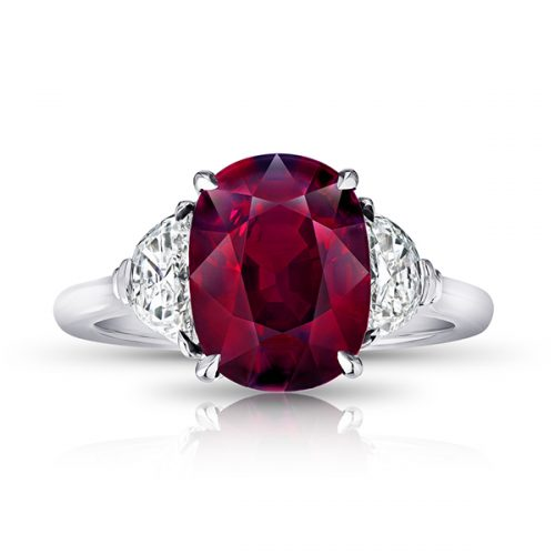 Oval Red Ruby With Half Moon Diamonds