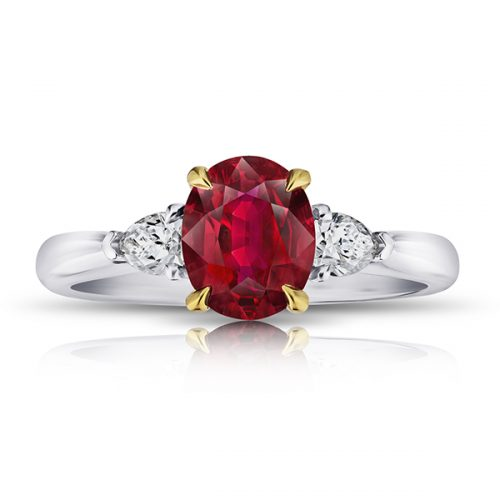 Oval Red Ruby With Pear Shape Diamonds