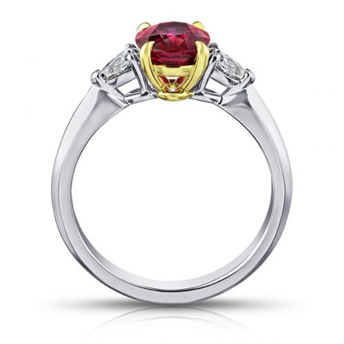 Oval Red Ruby With Pear Shape Diamonds2
