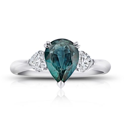 Pear Shape Bluish Green Sapphire Heart Diamonds