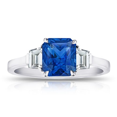 Radiant Cut Blue Sapphire With Trapezoid Step Cut Diamonds