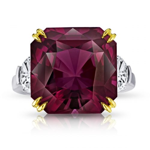 Radiant Cut Purple Spinel With Half Moon Diamonds