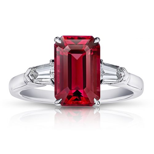 Red Spinel With Tapered Bullet Diamonds