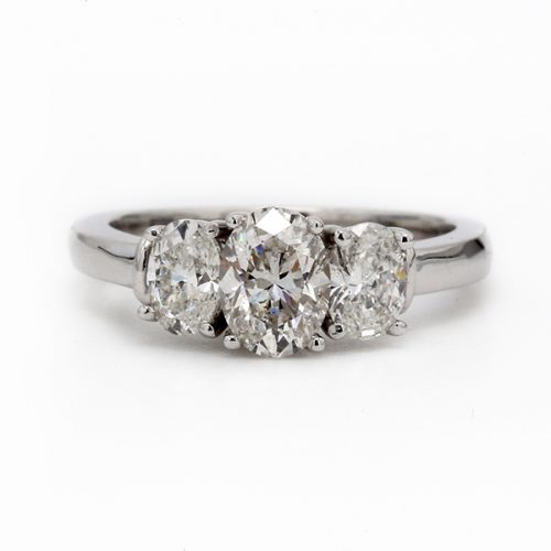 Oval cut Diamond Three Stone Engagement Ring